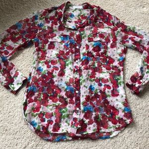 Floral silk Equipment blouse